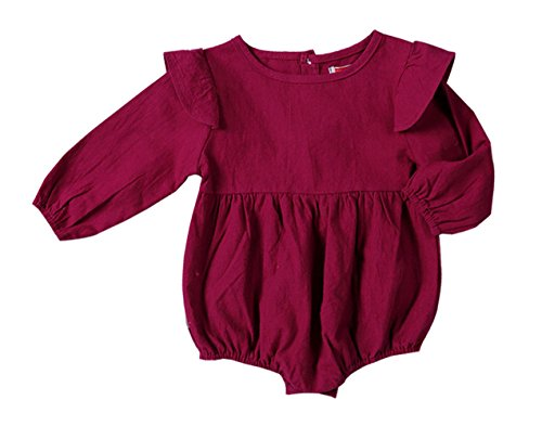 Twin Costumes For Girls (Qin.Orianna Toddler Baby Girl Twins Romper,Fly Long Sleeve Ruffles Outfit Clothes (6-12M, Purple-Red))