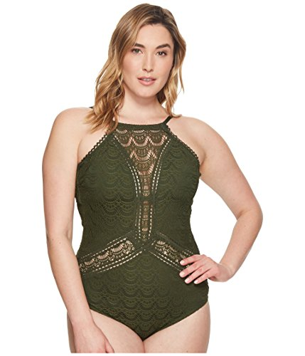 BECCA ETC Women's Plus Size Color Play High Neck One Piece Swimsuit, Bay, 1X by BECCA ETC