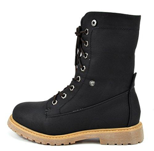 DREAM PAIRS Damen Winter Kunstpelz gefütterte Kragen Gummi Outsole Snow Ankle Boots Booties Montreal-schwarz