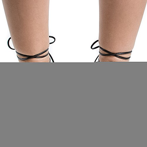 Puntige Teen Uitgesneden Enkelboel Lace Up Poot Wrap Ballet Flats Zwart Pu