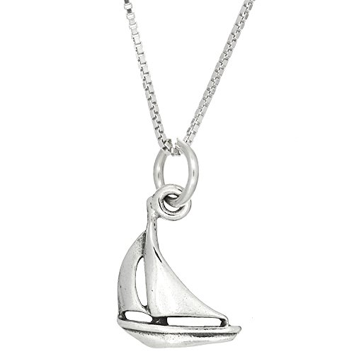 Sterling Silver Oxidized One Sided Sailboat Charm Pendant with Polished Box Chain Necklace (16 Inches) ()