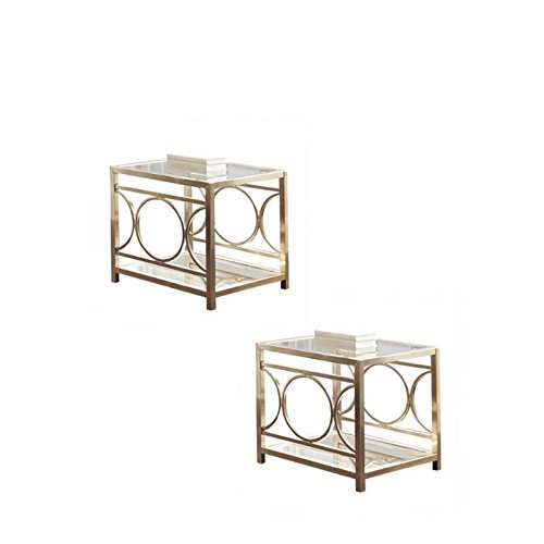Home Square Set of 2 Glass Top End Table in Gold Chrome