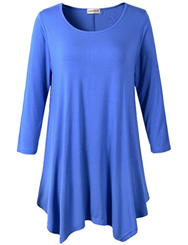 Lanmo Women Plus Size 3/4 Sleeve Tunic Tops Loose Basic Shirt (2X, Blue)