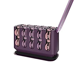 "remington h9100s pro hair setter - 41n6zdzvtRL - REMINGTON H9100S Pro Hair Setter with Thermaluxe Advanced Thermal Technology, Electric Hot Rollers, 1-1 ¼"", Purple"