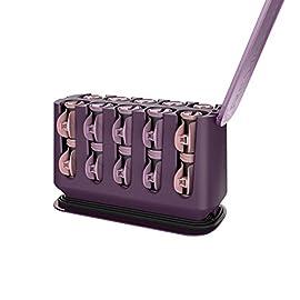 "remington h9100s pro hair setter - 41n6zdzvtRL - REMINGTON H9100S Pro Hair Setter with Thermaluxe Advanced Thermal Technology, Electric Hot Rollers, 1-1 ¼"", Purple"