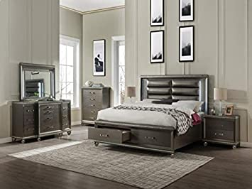 Amazon Com 4pc Contemporary Bedroom Furniture Set Eastern King