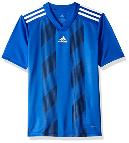 adidas Juniors' Striped 19 Soccer Jersey, Bold Blue/White, - Jersey Striped T-shirt