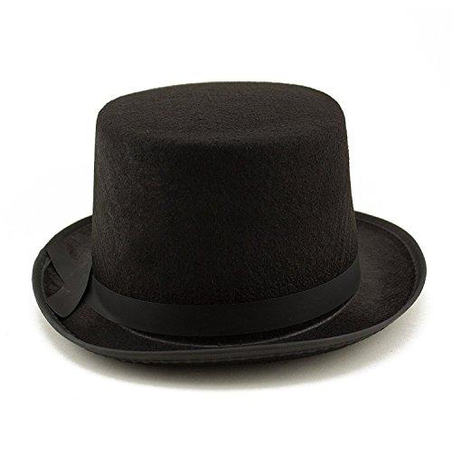 Adorox Sleek Felt Black Top Hat Fancy Costume Party Accessory (Black (1 Hat)) by Adorox (Image #1)