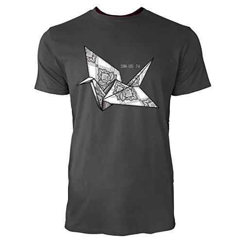 SINUS ART ® Origami Vogel mit Paisley Muster Herren T-Shirts in Smoke Fun Shirt mit tollen Aufdruck