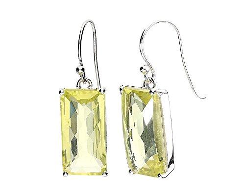 (Sterling Silver Rectangle Lemon Quartz Drop & Dangle Earrings)