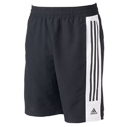 Men's adidas Colorblock Microfiber Volley Swim Trunks (XL, BLACK/WHITE) (Adidas Microfiber Shorts)