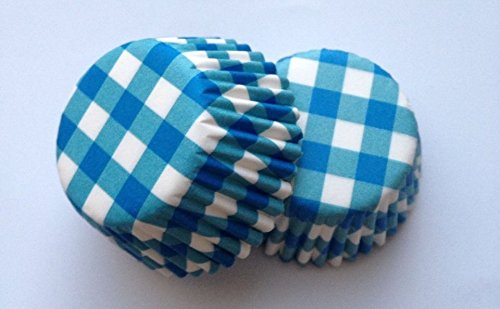 New 50 count Mini Blue Gingham Cupcake Liners Baking Cups Candy Truffle Stripe (Blue Gingham Mini)