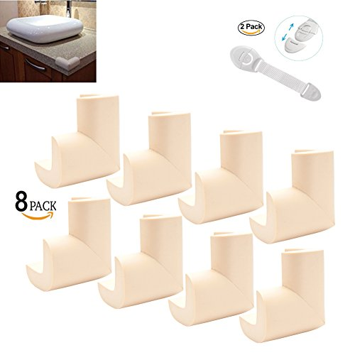 Baby Proofing Table Corner Protector,8 Pack Beige Foam Corners Bumpers for Furniture,Edge Protector for Large Edges & 2 Pack Child Protection Cabinet Locks(10 Packs) by SHINYBB (Image #8)