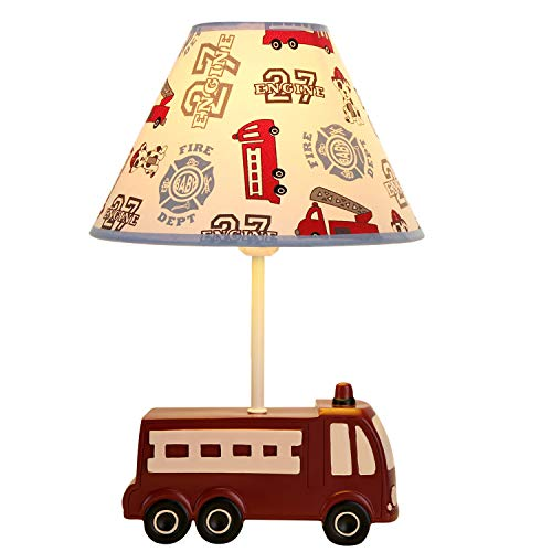 Christmas Gift Fire Truck Kids lamp Transportation Imagination Inspiring Besides Lamp with Fabric Odorless Lampshades for Kid's Room