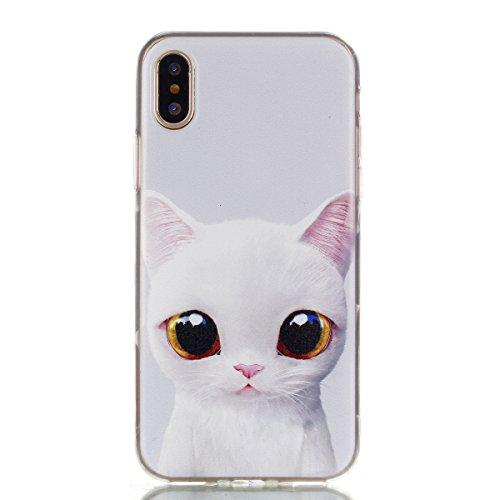 iPhone X Case (5.8-inch), iPhone X Skin Cover, MerKuyom Durable Slim-fit [Flexible Gel] Soft TPU Case Rubber Skin Cover W/ Stylus For Apple iPhone X (Cute White Cat Pattern) ()