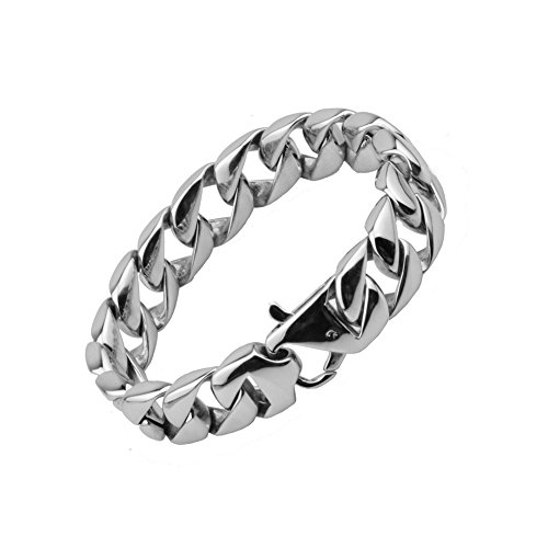 15mm Wide Hiphop Curb Cuban Chain Bracelet for Men Women Stainless Steel Silver High Polished, 10'' by Loveshine