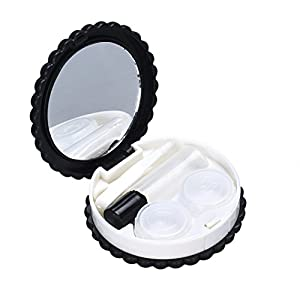 Hot Sale! AMA(TM) Cartoon Biscuit Candy Color Mini Contact Lens Case Holder Box Travel Kit Easy Carry Mirror Container (Black)