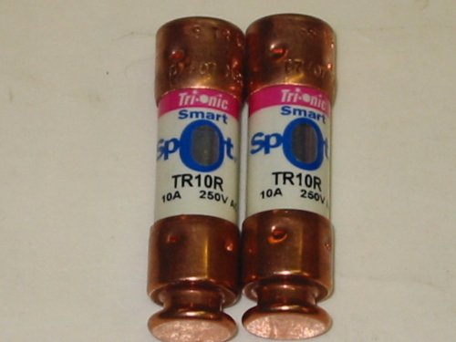 2 FUSE LOT - TR10R SHAWMUT 10 AMP SMART SPOT, 250V, TRIONIC DUAL ELEMENT, TIME DELAY, INDICATING