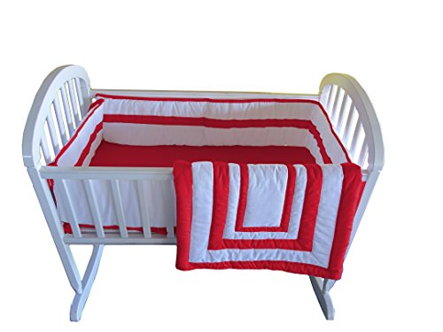 Baby Doll Bedding Modern Hotel Style Cradle Bedding, Red by BabyDoll Bedding