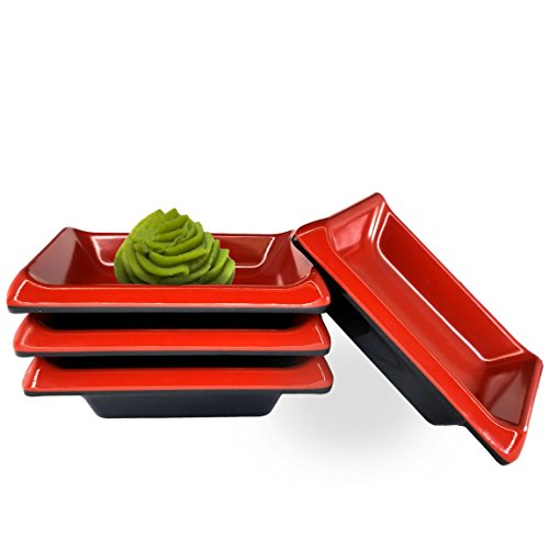 Happy Sales HSDBRB4T, Melamine Sauce Dipping Bowls, Sauce Dishes, Set of 4 pc Tetragon, Red & Black - Four Dipping Bowls
