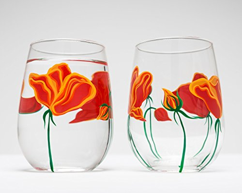 California Poppies Stemless Wine Glasses – Set of 2 Hand Painted Glasses, Gift for Mom, Mother's Day Glasses, Best Seller