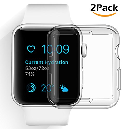 COVELL for Apple Watch Screen Protector, All-Around TPU Compatible Apple Watch Case and iWatch Protective Cover Bumper Compatible with Apple Watch Series 3, Series 2 38mm [2 Pack]