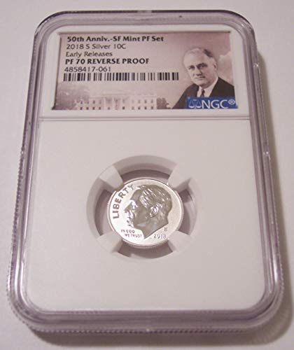 (2018 S Roosevelt Silver Reverse Proof Early Releases Dime PF70 NGC Portrait Label)