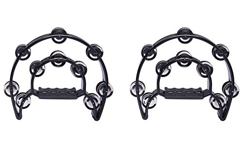 Foraineam 2 Pieces 9 Half Moon Handheld Tambourine - Double Row 20 Pairs Jingles Musical Percussion - Black