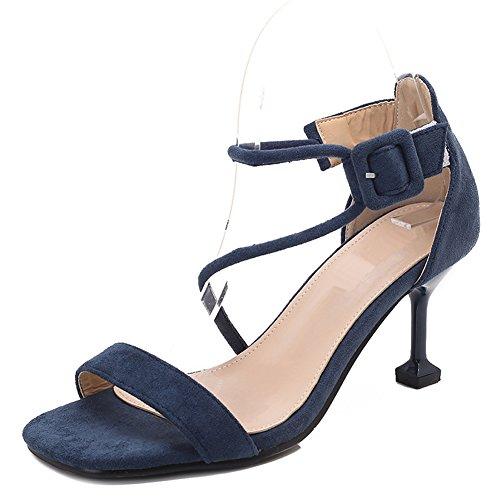 Ouvert Dames Femmes Sandales pour Ruiren Cheville Talons Chaton Chaussures Bleu Hauts Talon pvdxt0dq