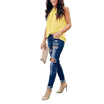 Rainlin Women Summer Chiffon Blouses Sleeveless Shirt O Neck Pleated Tank Halter Tops at  Women's Clothing store