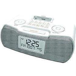 Sangean RCR-10WHITE AM/FM-RDS DIGITAL ATOMIC CLOCK RADIO with IPOD DOCK