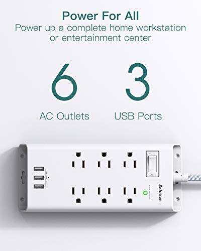 Power Strip Surge Protector, Addtam 6 Outlets and 3 USB Ports 5Ft Long Extension Cord, Flat Plug Overload Surge Protection Outlet Strip, Wall Mount for Home, Office and More, ETL Listed