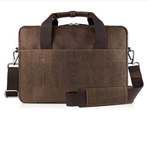 Corkor Cork Briefcase for Men | Vegan Messenger Bag Non-Leather | Shoulder Strap Brown Color