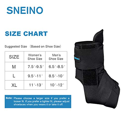 Ankle Stabilizer SNEINO Adjustable Ankle Brace with Gel Spring Support Ankle for Pain Recovery Reduce Foot Swelling Provides Arch Support,Heel Spurs,Achilles Tendon (M) by SNEINO (Image #4)