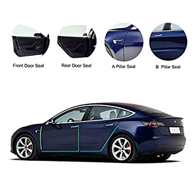 Tesla Model 3 Door Seal Kit, Soundproof Rubber Weather Draft Seal Strip Wind Noise Reduction Kit Accessories, Dirt Reduce, Weather Draft