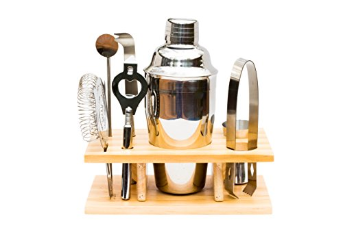 Shaker Gift Set - Bar Set - 7 Piece Cocktail Martini Shaker Set with Organizer Stand and Accessories - 550 Milliter 18.5 Ounce Shaker.