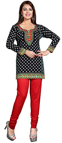 Maple-Clothing-Womens-Printed-Short-Kurti-Tunic-Top-Blouse-Indian-Clothes
