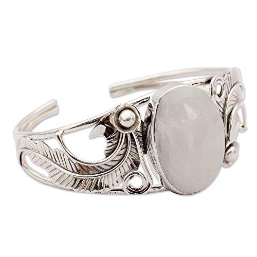 NOVICA Moonstone - Rainbow .925 Sterling Silver Cuff Bracelet 'Eternal Glow' by NOVICA (Image #1)