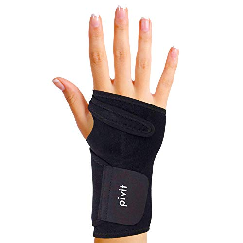 (Pivit Antibacterial Carpal Tunnel Wrist Support Brace | Universal Hand Compression Wraps Fit Left or Right Hands | Duo Adjustable Straps & Removable Splint | Prevents Stains & Odor Causing Bacteria)