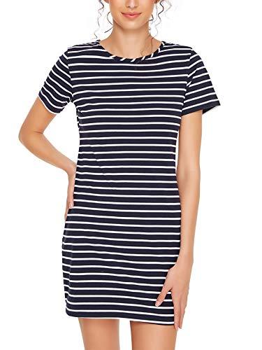 (Floerns Women's Causal Short Sleeve Striped Bodycon T-Shirt Dress Navy S)