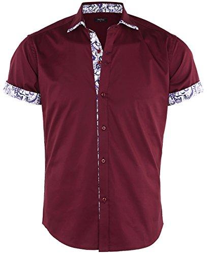 (JEETOO Men's Floral Shirts Short Sleeve Print Dress Shirt Button Down Summer Casual Shirt, (XX-Large, Burgundy))