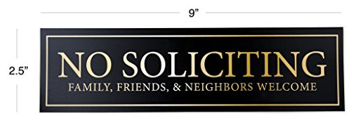 "No Soliciting - Family, Friends, & Neighbors Welcome Door Magnet - The Perfect ""No Soliciting"" Sign For Metal Doors and Frames (2.5"" x 9"") Photo #2"