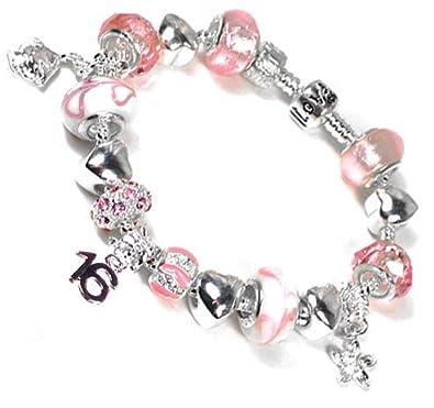 7fdb940bb 16th Birthday Pandora style silver plated charm bracelet with Pink Murano &  Rhinestone beads ...