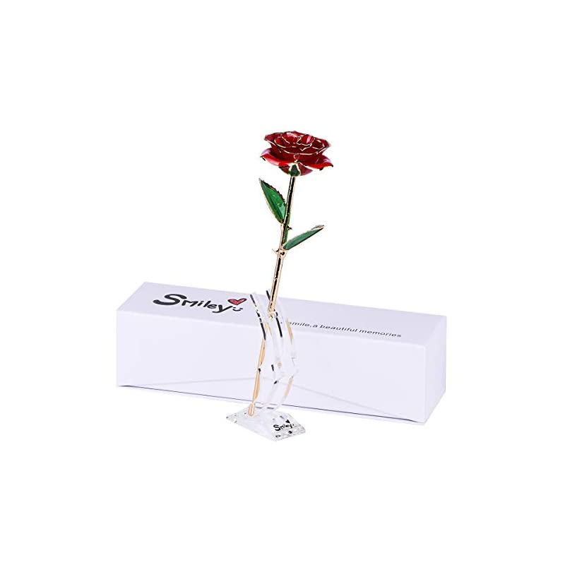 silk flower arrangements smiley gift for her - 24k gold dipped real rose with gift box&moon stand,forever gifts for her,girlfriend, wife on anniversary, valentine's day, birthday, christmas (a-red)
