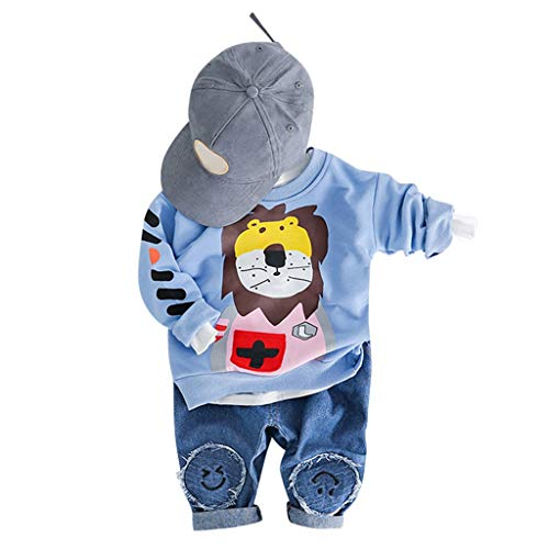 2Piece Toddler Infant Baby Boy Girl Sweatsuit,Long Sleeve Pull-Over Cartoon Lion Print Sweatshirt Jeans Pants Clothes Suit -