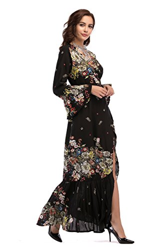 Long Split Wedding Women Dress Sleeve Party Flare Dresses Maxi Cresay Black 5 Beach qWzwCgdta