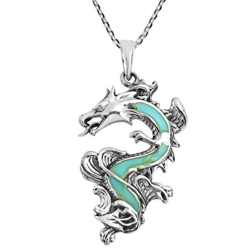(AeraVida Legendary Chinese Dragon Simulated Turquoise Inlaid .925 Sterling Silver Pendant Necklace)