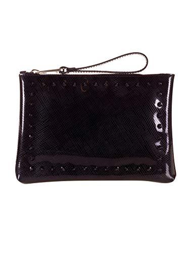 Pochette Gum Woman, caoutchouc, clous, noir brillant, 26x18x3 cm