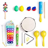 Frunsi Musical Instruments Toys Set for Kids, Toddlers, Pre-School, 9 in 1 Music Percussion Toy Set Xylophone, Maraca, Egg Shaker, Flute, Tambourine, Bell Stick, Finger Clapper, Triangle, Tone Blocks