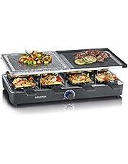 SEVERIN RG 2371 raclette-grill med naturgrillsten och grillplatta, 1400, plast, svart